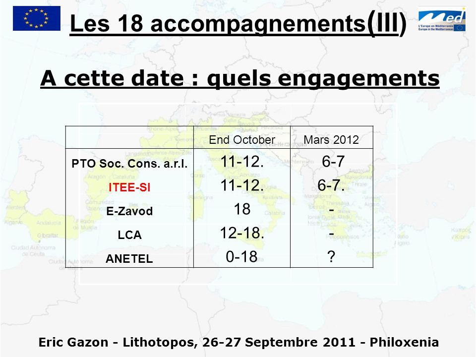 Eric Gazon - Lithotopos, 26-27 Septembre 2011 - Philoxenia Les 18 accompagnements ( III) A cette date : quels engagements End OctoberMars 2012 PTO Soc
