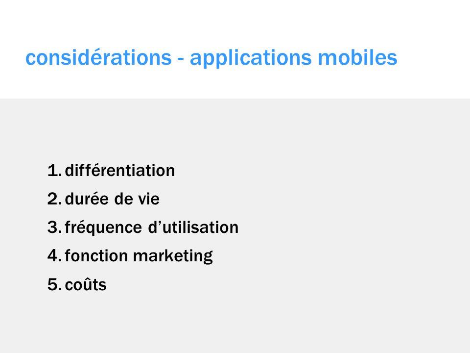 1.différentiation 2.durée de vie 3.fréquence dutilisation 4.fonction marketing 5.coûts considérations - applications mobiles