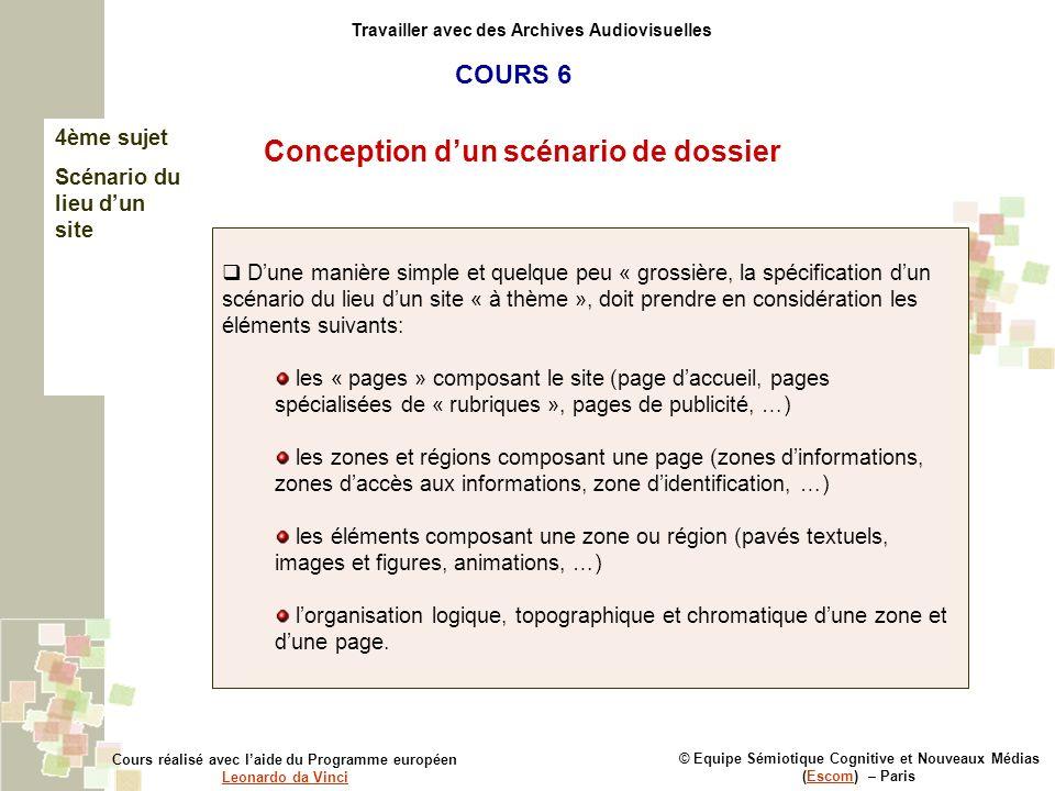 © Equipe Sémiotique Cognitive et Nouveaux Médias (Escom) – ParisEscom Travailler avec des Archives Audiovisuelles Conception dun scénario de dossier C