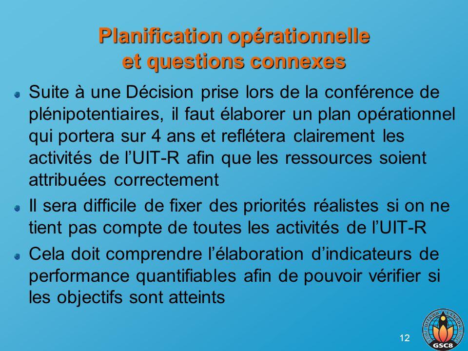 12 Planification opérationnelle et questions connexes Suite à une Décision prise lors de la conférence de plénipotentiaires, il faut élaborer un plan
