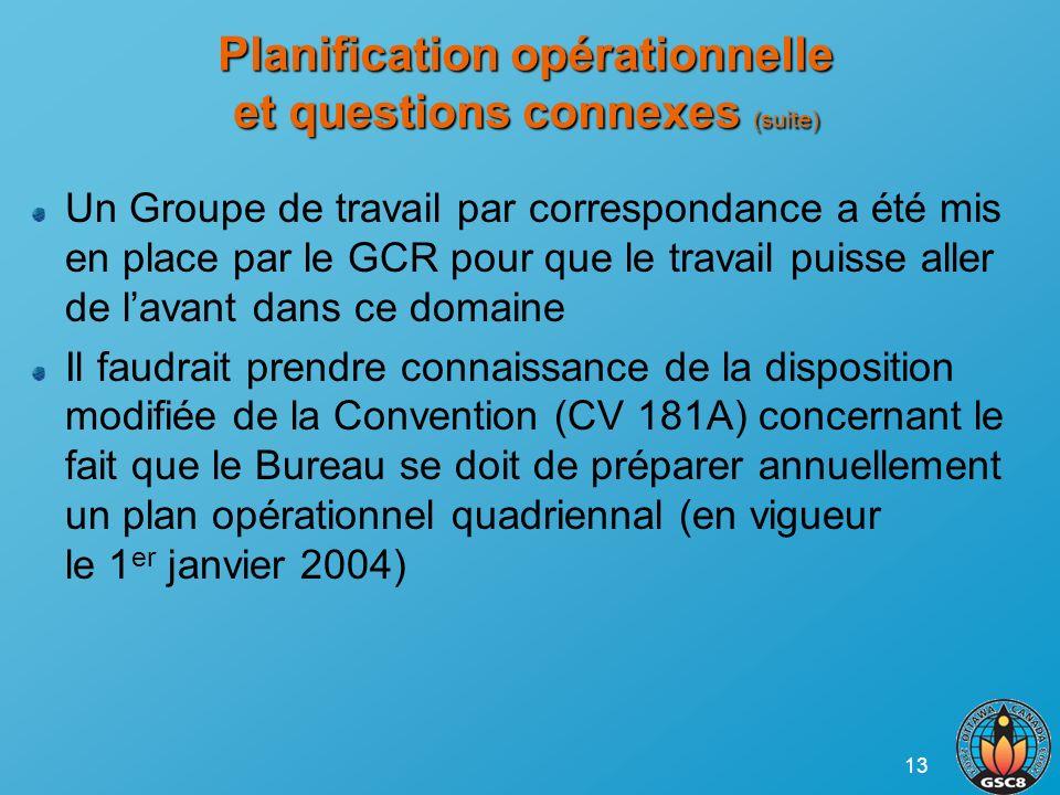 13 Planification opérationnelle et questions connexes (suite) Un Groupe de travail par correspondance a été mis en place par le GCR pour que le travai