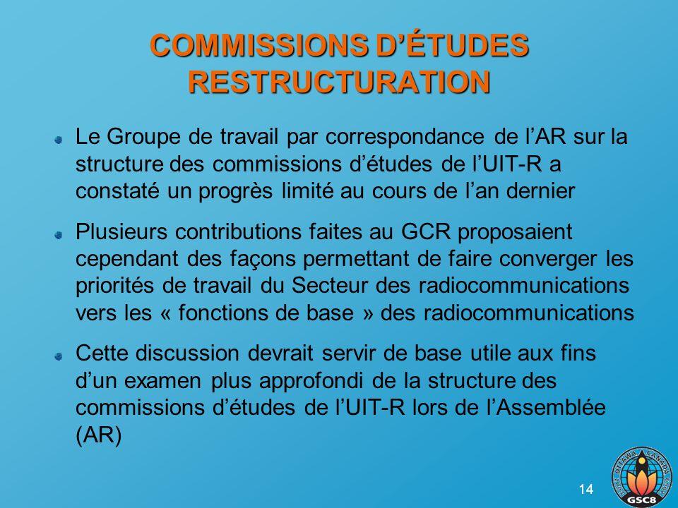 14 COMMISSIONS DÉTUDES RESTRUCTURATION Le Groupe de travail par correspondance de lAR sur la structure des commissions détudes de lUIT-R a constaté un