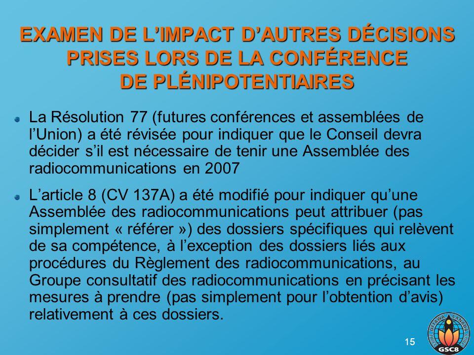 15 EXAMEN DE LIMPACT DAUTRES DÉCISIONS PRISES LORS DE LA CONFÉRENCE DE PLÉNIPOTENTIAIRES La Résolution 77 (futures conférences et assemblées de lUnion) a été révisée pour indiquer que le Conseil devra décider sil est nécessaire de tenir une Assemblée des radiocommunications en 2007 Larticle 8 (CV 137A) a été modifié pour indiquer quune Assemblée des radiocommunications peut attribuer (pas simplement « référer ») des dossiers spécifiques qui relèvent de sa compétence, à lexception des dossiers liés aux procédures du Règlement des radiocommunications, au Groupe consultatif des radiocommunications en précisant les mesures à prendre (pas simplement pour lobtention davis) relativement à ces dossiers.