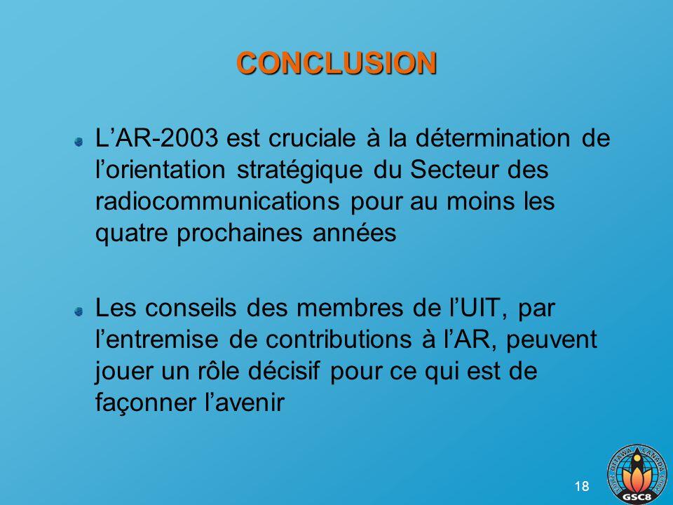 18 CONCLUSION LAR-2003 est cruciale à la détermination de lorientation stratégique du Secteur des radiocommunications pour au moins les quatre prochai