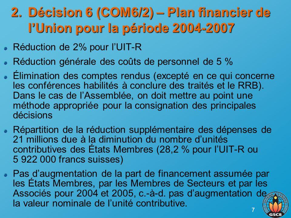 7 Réduction de 2% pour lUIT-R Réduction générale des coûts de personnel de 5 % Élimination des comptes rendus (excepté en ce qui concerne les conférences habilités à conclure des traités et le RRB).