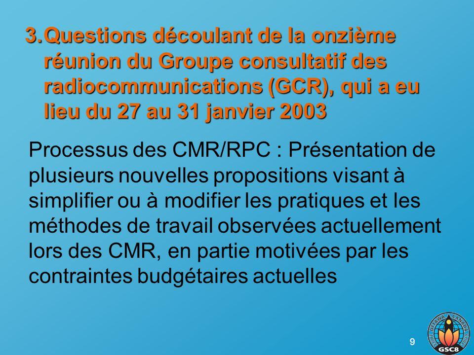 9 3.Questions découlant de la onzième réunion du Groupe consultatif des radiocommunications (GCR), qui a eu lieu du 27 au 31 janvier 2003 Processus de