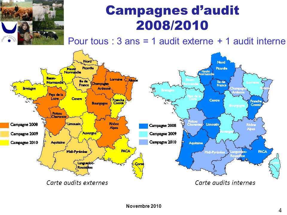 Novembre 2010 4 Campagnes daudit 2008/2010 Pour tous : 3 ans = 1 audit externe + 1 audit interne Carte audits internesCarte audits externes