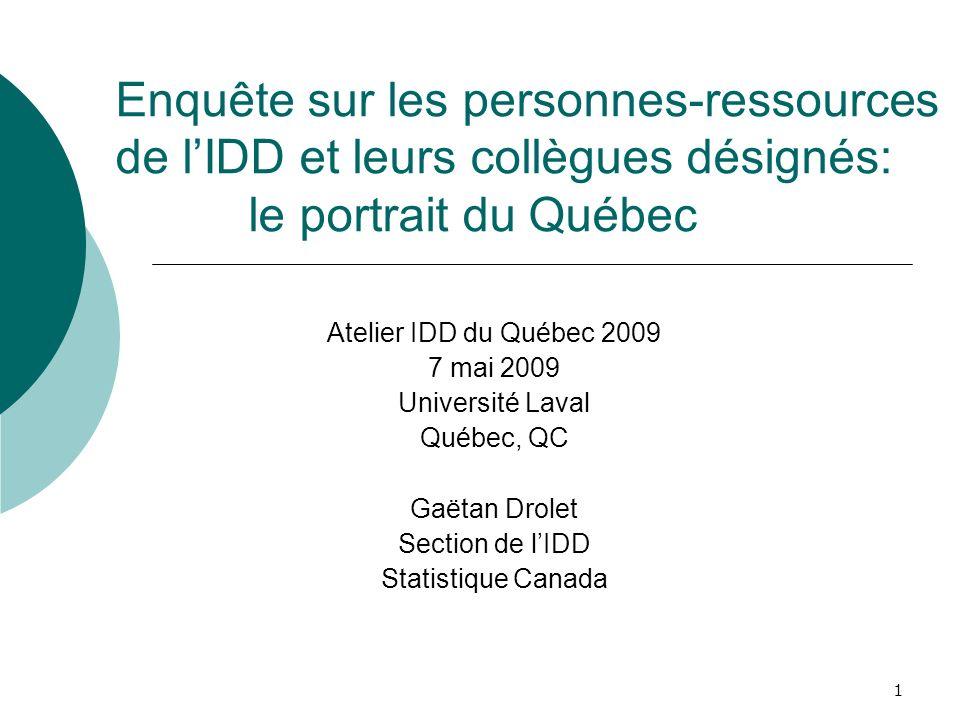 1 Enquête sur les personnes-ressources de lIDD et leurs collègues désignés: le portrait du Québec Atelier IDD du Québec 2009 7 mai 2009 Université Lav