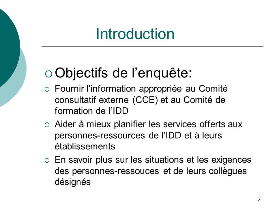 2 Introduction Objectifs de lenquête: Fournir linformation appropriée au Comité consultatif externe (CCE) et au Comité de formation de lIDD Aider à mi