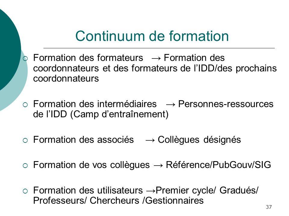 37 Continuum de formation Formation des formateurs Formation des coordonnateurs et des formateurs de lIDD/des prochains coordonnateurs Formation des i