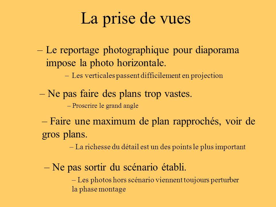 La prise de vues –Le reportage photographique pour diaporama impose la photo horizontale. –Les verticales passent difficilement en projection – Ne pas