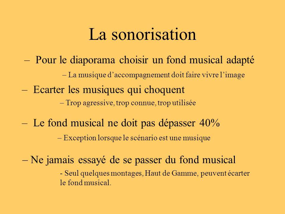La sonorisation – Pour le diaporama choisir un fond musical adapté – La musique daccompagnement doit faire vivre limage – Ecarter les musiques qui cho