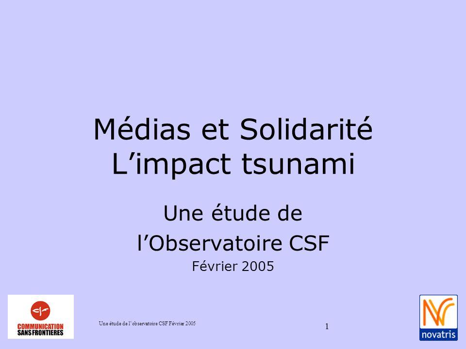Une étude de lobservatoire CSF Février 2005 1 Médias et Solidarité Limpact tsunami Une étude de lObservatoire CSF Février 2005