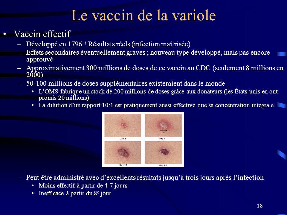 18 Le vaccin de la variole Vaccin effectif –Développé en 1796 ! Résultats réels (infection maîtrisée) –Effets secondaires éventuellement graves ; nouv