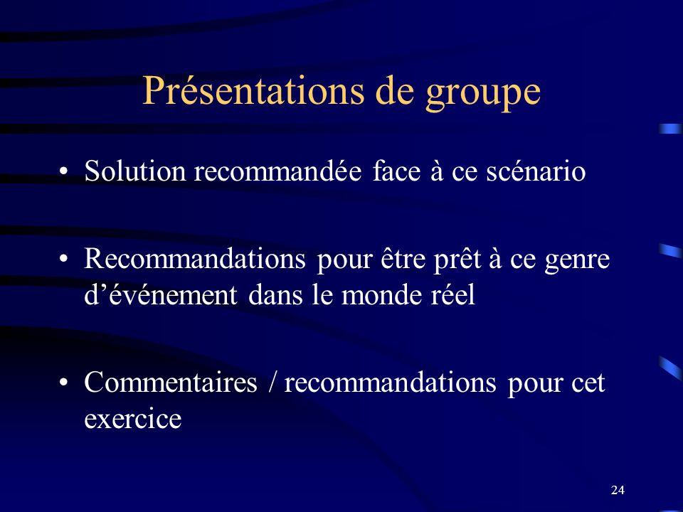 24 Présentations de groupe Solution recommandée face à ce scénario Recommandations pour être prêt à ce genre dévénement dans le monde réel Commentaire