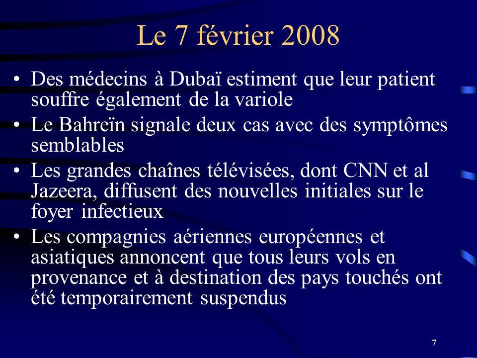 7 Le 7 février 2008 Des médecins à Dubaï estiment que leur patient souffre également de la variole Le Bahreïn signale deux cas avec des symptômes semb