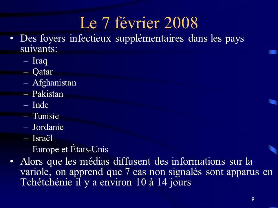 9 Le 7 février 2008 Des foyers infectieux supplémentaires dans les pays suivants: –Iraq –Qatar –Afghanistan –Pakistan –Inde –Tunisie –Jordanie –Israël