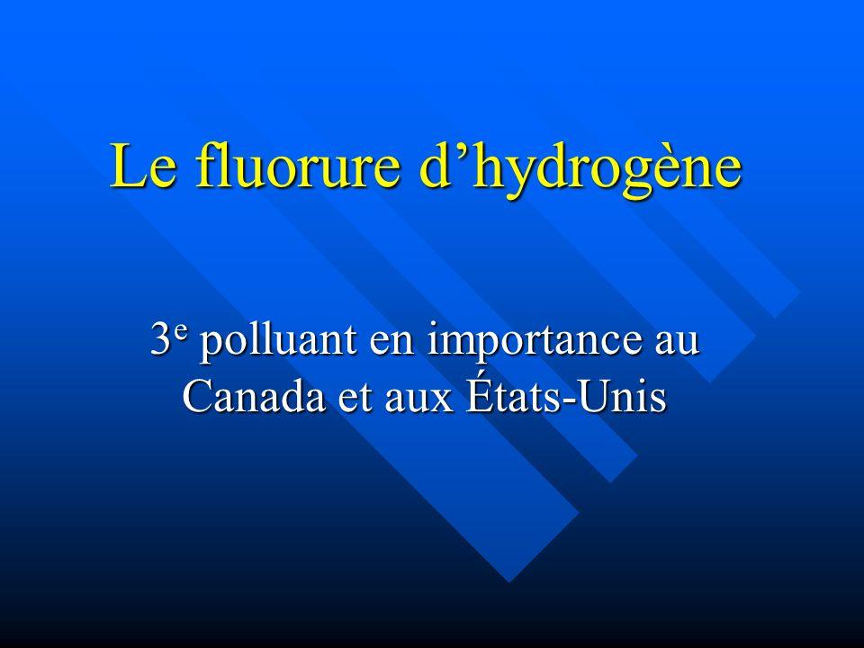 Le fluorure dhydrogène 3 e polluant en importance au Canada et aux États-Unis