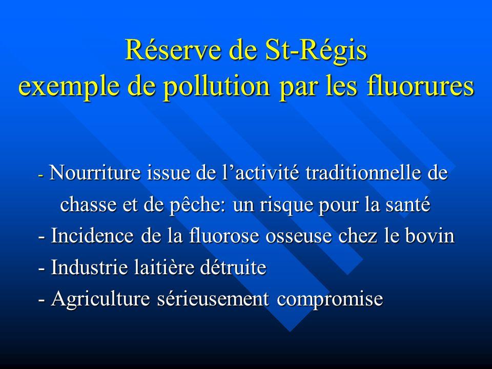 Réserve de St-Régis exemple de pollution par les fluorures - Nourriture issue de lactivité traditionnelle de chasse et de pêche: un risque pour la san