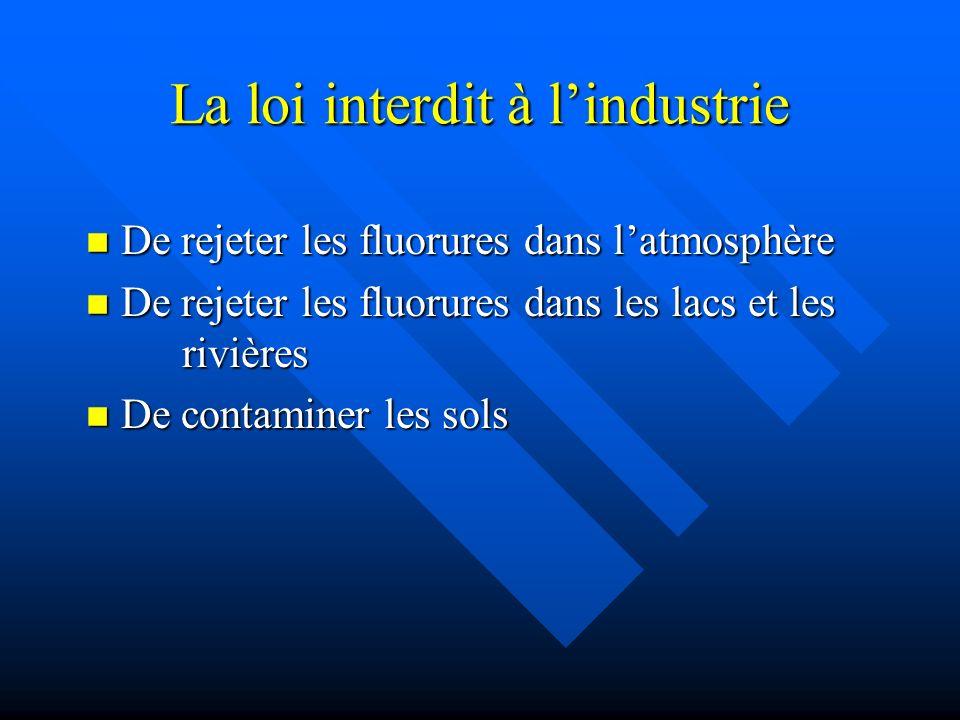 La loi interdit à lindustrie De rejeter les fluorures dans latmosphère De rejeter les fluorures dans latmosphère De rejeter les fluorures dans les lac