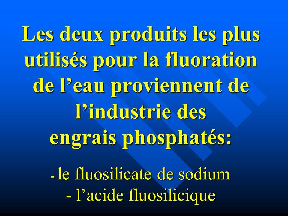 Les deux produits les plus utilisés pour la fluoration de leau proviennent de lindustrie des engrais phosphatés: - le fluosilicate de sodium - lacide