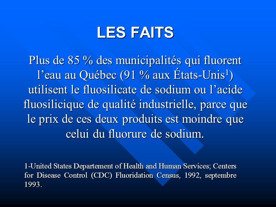 LES FAITS Plus de 85 % des municipalités qui fluorent leau au Québec (91 % aux États-Unis 1 ) utilisent le fluosilicate de sodium ou lacide fluosilici