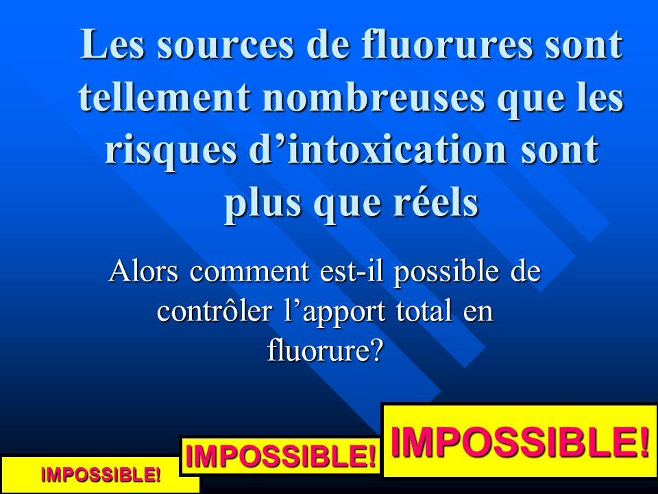 Les sources de fluorures sont tellement nombreuses que les risques dintoxication sont plus que réels Alors comment est-il possible de contrôler lappor