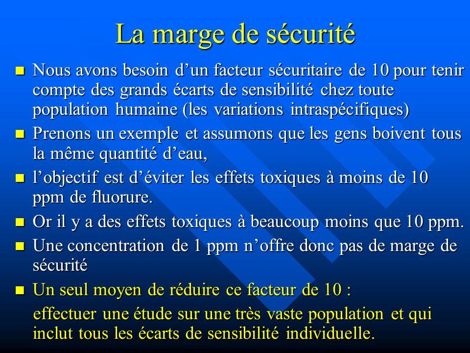 La marge de sécurité Nous avons besoin dun facteur sécuritaire de 10 pour tenir compte des grands écarts de sensibilité chez toute population humaine
