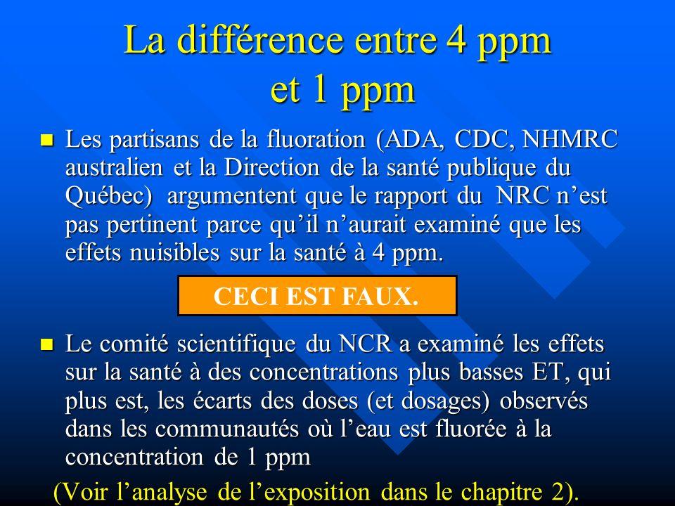 La différence entre 4 ppm et 1 ppm Les partisans de la fluoration (ADA, CDC, NHMRC australien et la Direction de la santé publique du Québec) argument