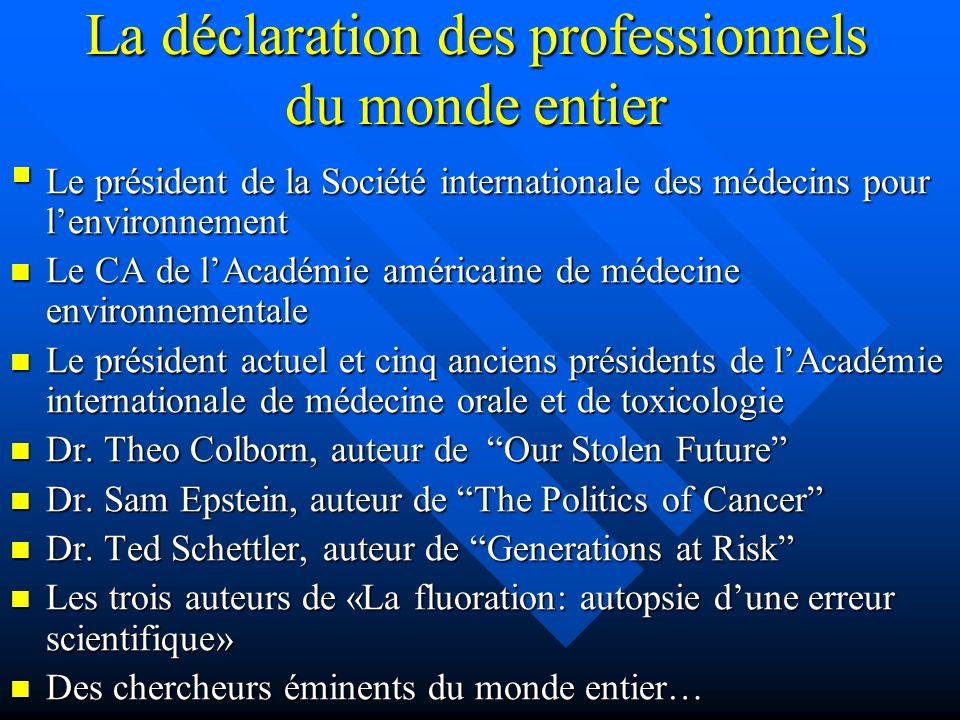 La déclaration des professionnels du monde entier Le président de la Société internationale des médecins pour lenvironnement Le président de la Sociét