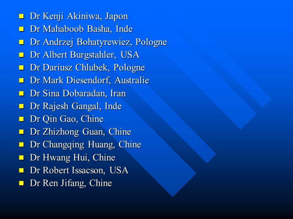 Dr Kenji Akiniwa, Japon Dr Kenji Akiniwa, Japon Dr Mahaboob Basha, Inde Dr Mahaboob Basha, Inde Dr Andrzej Bohatyrewiez, Pologne Dr Andrzej Bohatyrewi