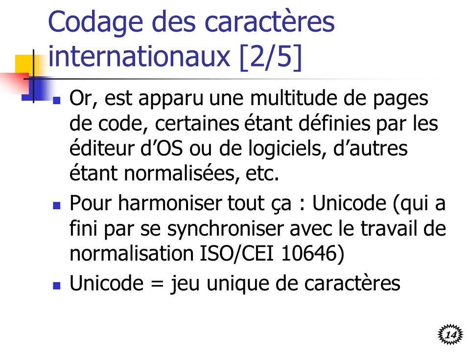 14 Codage des caractères internationaux [2/5] Or, est apparu une multitude de pages de code, certaines étant définies par les éditeur dOS ou de logici