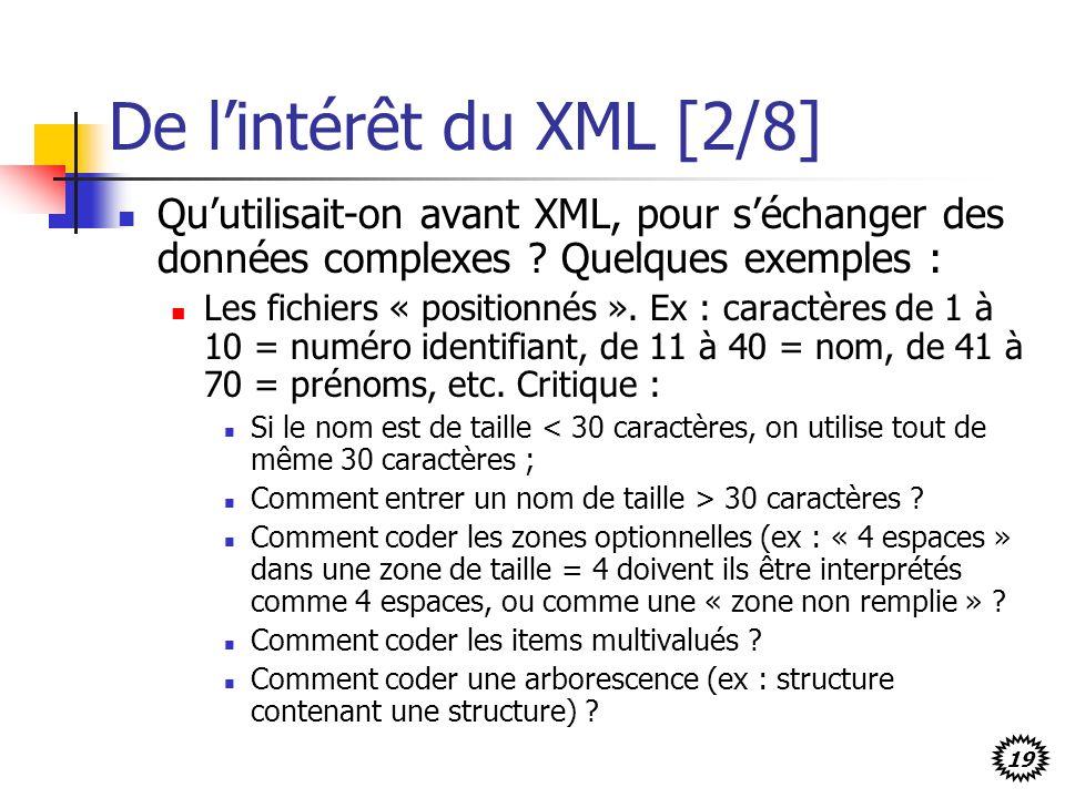 19 De lintérêt du XML [2/8] Quutilisait-on avant XML, pour séchanger des données complexes ? Quelques exemples : Les fichiers « positionnés ». Ex : ca