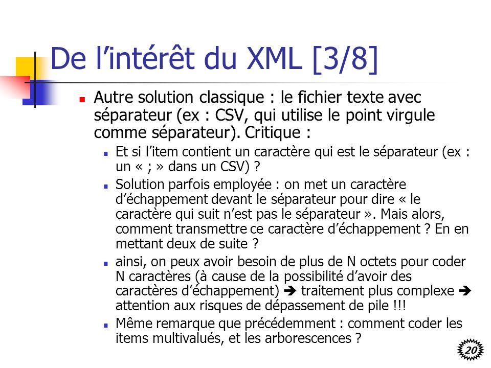 20 De lintérêt du XML [3/8] Autre solution classique : le fichier texte avec séparateur (ex : CSV, qui utilise le point virgule comme séparateur). Cri