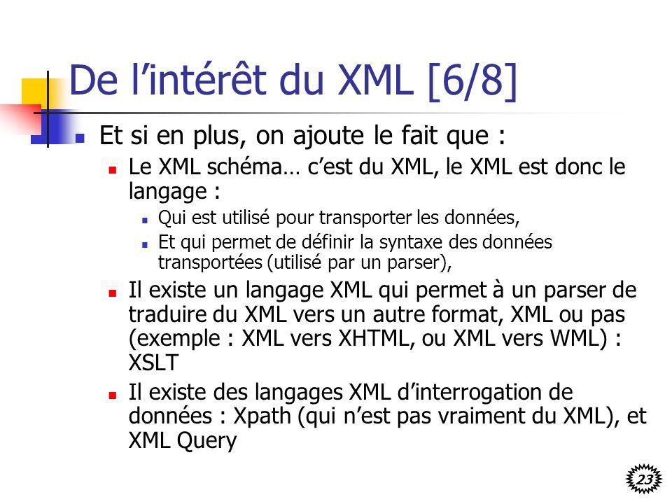 23 De lintérêt du XML [6/8] Et si en plus, on ajoute le fait que : Le XML schéma… cest du XML, le XML est donc le langage : Qui est utilisé pour trans