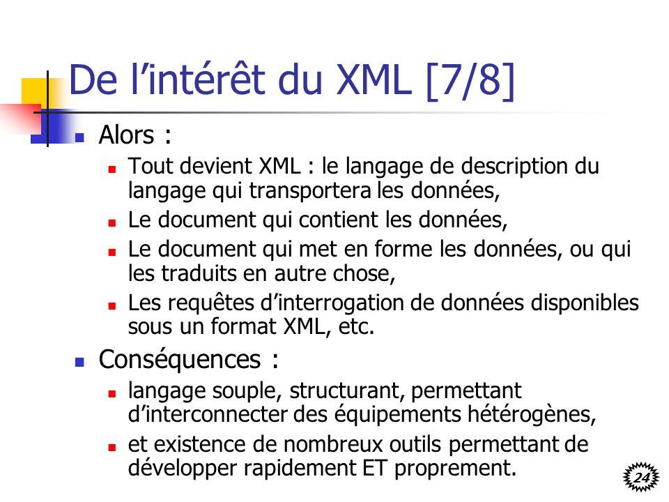 24 De lintérêt du XML [7/8] Alors : Tout devient XML : le langage de description du langage qui transportera les données, Le document qui contient les