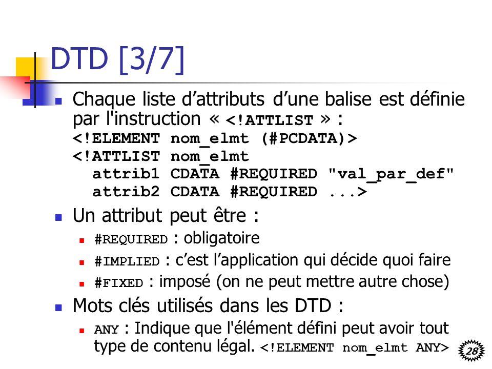 28 DTD [3/7] Chaque liste dattributs dune balise est définie par l'instruction « Un attribut peut être : #REQUIRED : obligatoire #IMPLIED : cest lappl
