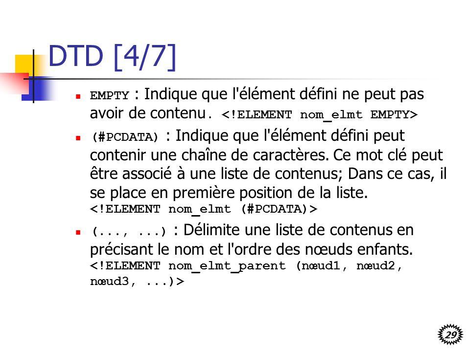 29 DTD [4/7] EMPTY : Indique que l'élément défini ne peut pas avoir de contenu. (#PCDATA) : Indique que l'élément défini peut contenir une chaîne de c