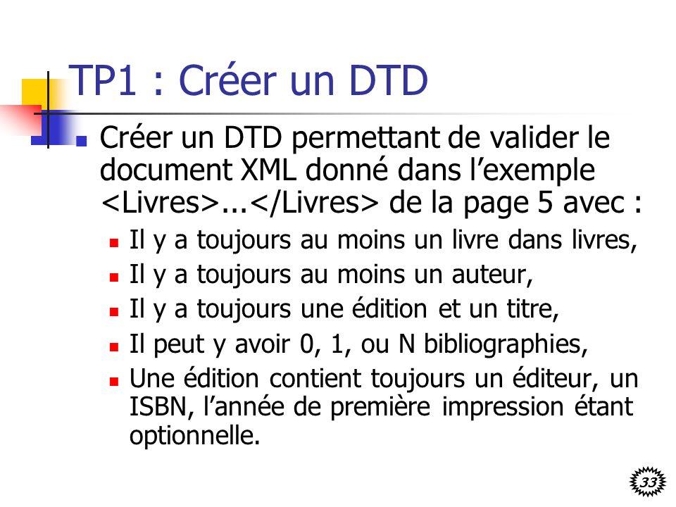 33 TP1 : Créer un DTD Créer un DTD permettant de valider le document XML donné dans lexemple... de la page 5 avec : Il y a toujours au moins un livre