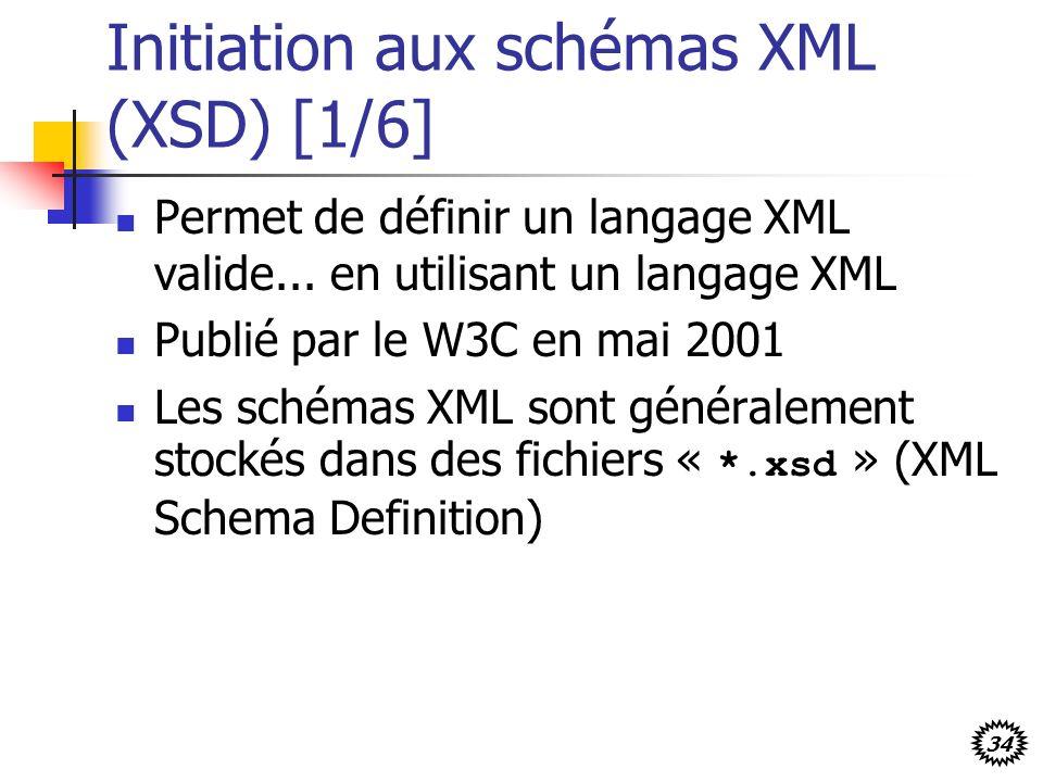 34 Initiation aux schémas XML (XSD) [1/6] Permet de définir un langage XML valide... en utilisant un langage XML Publié par le W3C en mai 2001 Les sch