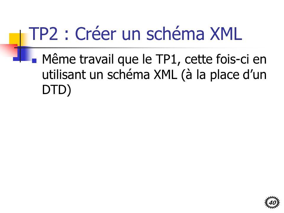 40 TP2 : Créer un schéma XML Même travail que le TP1, cette fois-ci en utilisant un schéma XML (à la place dun DTD)