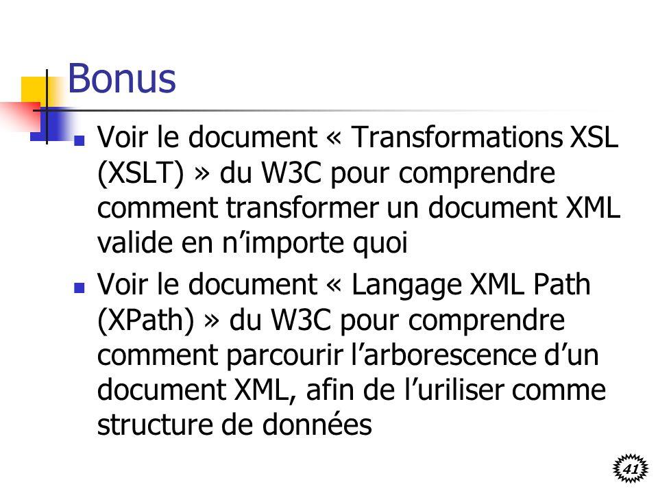 41 Bonus Voir le document « Transformations XSL (XSLT) » du W3C pour comprendre comment transformer un document XML valide en nimporte quoi Voir le do