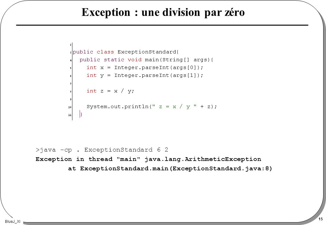BlueJ_XI 15 Exception : une division par zéro >java -cp.