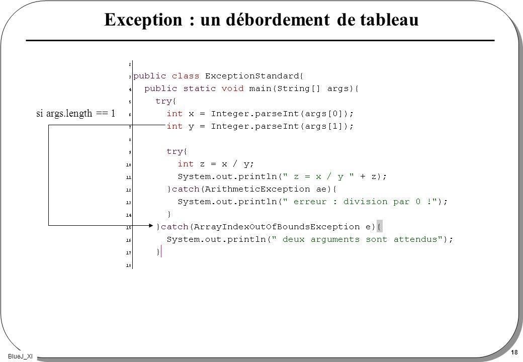 BlueJ_XI 18 Exception : un débordement de tableau si args.length == 1