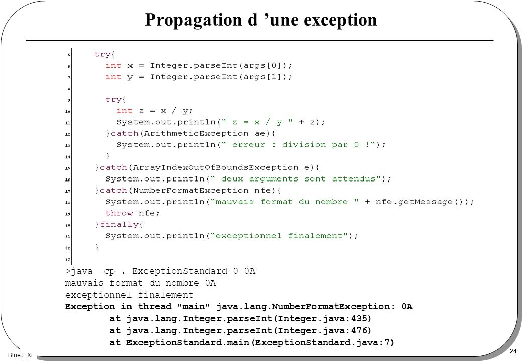 BlueJ_XI 24 Propagation d une exception >java -cp.
