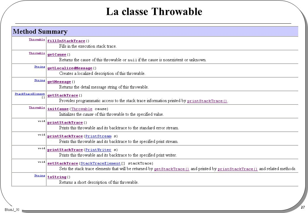 BlueJ_XI 27 La classe Throwable