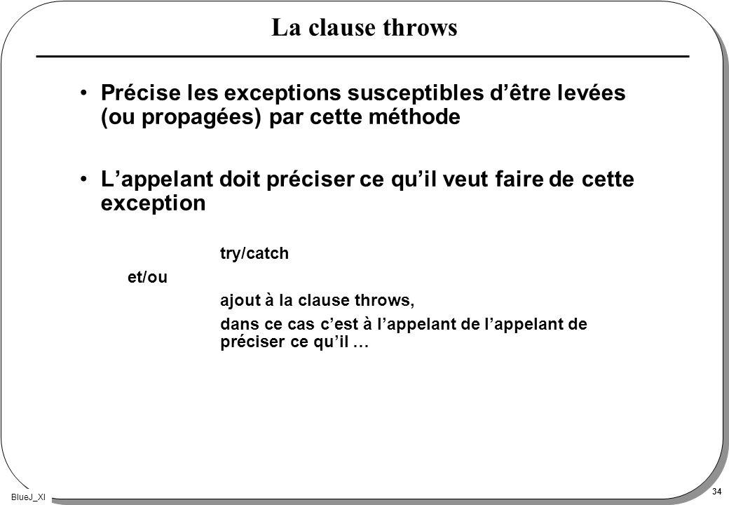 BlueJ_XI 34 La clause throws Précise les exceptions susceptibles dêtre levées (ou propagées) par cette méthode Lappelant doit préciser ce quil veut fa