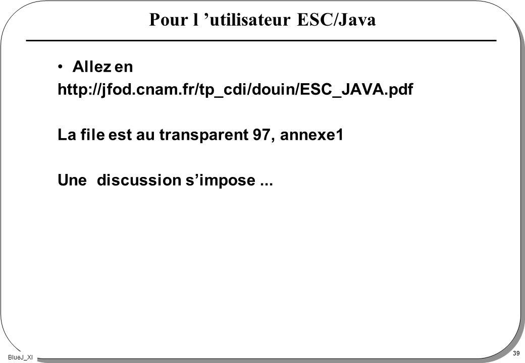 BlueJ_XI 39 Pour l utilisateur ESC/Java Allez en http://jfod.cnam.fr/tp_cdi/douin/ESC_JAVA.pdf La file est au transparent 97, annexe1 Une discussion s