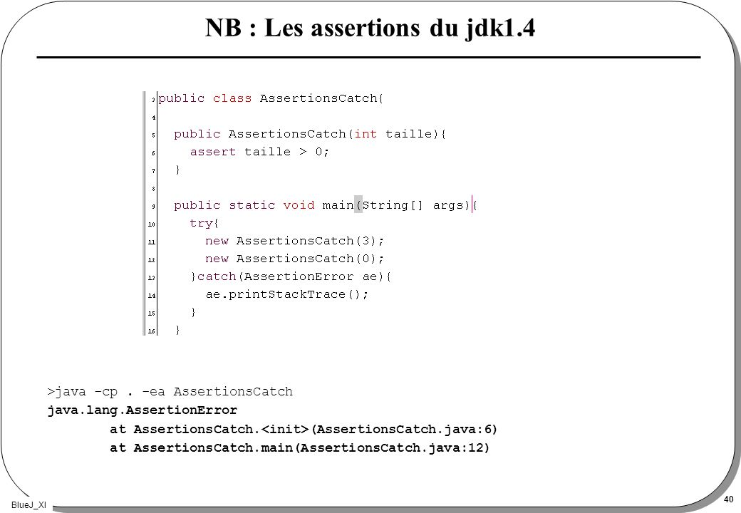 BlueJ_XI 40 NB : Les assertions du jdk1.4 >java -cp.