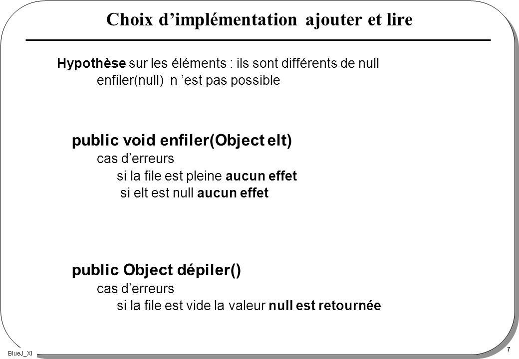 BlueJ_XI 7 Choix dimplémentation ajouter et lire Hypothèse sur les éléments : ils sont différents de null enfiler(null) n est pas possible public void